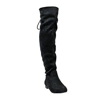 Women's Benson-1 Suede Drawstring Tie Riding Over The Knee Boots