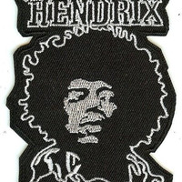 Jimi Hendrix Iron-On Patch White Face Logo