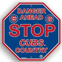 """Chicago Cubs RED Letter 12"""" Plastic Wall STOP Sign Country Danger Ahead Baseball"""