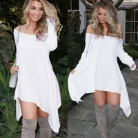 Off Shoulder White Irregular Loose Dress