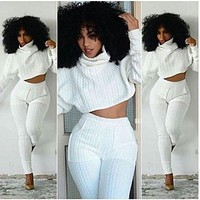 Women Two Pieces Set Knit Fitted Crop Tops Casual Suits 2 piece set for women top and pants Fashion Jogger Set Lounge S-XXL