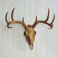 The Large Bronze Faux Taxidermy Resin Deer Head Skull Wall Mount | Bronze Deer Head w/ Colored Antlers