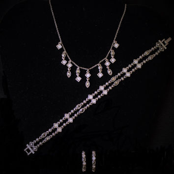 Vintage Black and White Rhinestone In Antique Silver Tone 3 Piece Jewelry Set