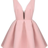 Pink Sleeveless Plunge V Neck Cut Out Side High Waist Pleat Flare A Line Mini Dress