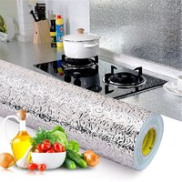 Kitchen Wall Stove Aluminum Foil Oil-proof Stickers Anti-fouling High-temperature Self-adhesive Croppable Wall Sticker 40*100 cm