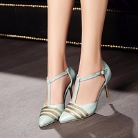 Pointed Toe T Straps Spike Gold Heel Women Sandals Pumps 7259