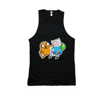 Adventure Time Fin and Jake Unisex Tank Top Black Cartoon Network Shirt