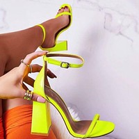 Hot Selling Women's Sandals with Lacquer Coarse Super High-heeled Shoes