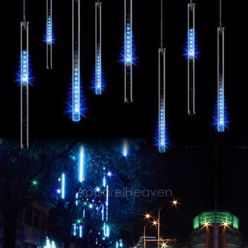 30CM Meteor Shower Rain Tubes LED Light For Christmas Wedding Garden Decoration 100-240V/US Plug Blue AP = 1932927108