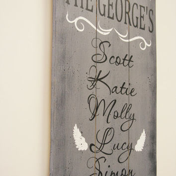 Family Name Sign Personalized Wood Sign Pallet Sign In Memory Wood Sign Angel Wings Sign Distressed Wood Wall Decor Rustic Photo Wall Sign