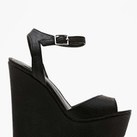 Shoe Cult Belen Platform Wedge - Black