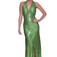 Beautifly Sexy V-neck Sequin Halter High Slit Evening Party Dress