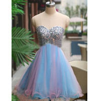 Red Short Prom Dress Homecoming Dresses pst0736