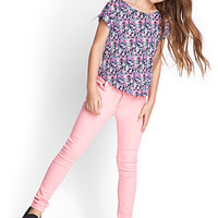 FOREVER 21 GIRLS Floral Print Tee (Kids) Navy/Pink