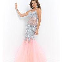 Coral Pink Halter Jeweled Illusion Midriff Sexy Low Back Gown