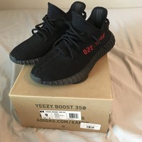 Yeezy Boost 350 V2 Bred Size 9 Adidas Black & Red 100% Authentic