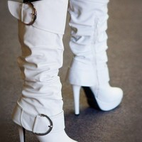 Wild Rose Gilly-20 Buckle Knee High Slouchy Boot (White) - Shoes 4 U Las Vegas