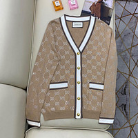 GUCCI Full of heavy industry hot diamond knitted cardigan temperament V-neck lean and age reducing knitted jacket