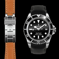 Curved End Leather Strap for Rolex Sea-Dweller Deployant