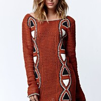 Volcom Crochet Vibe Tribe Sweater Mini Dress - Womens Dress - Copper/Rust