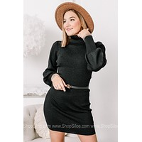 Blushing Babe Turtleneck Metallic Sweater Dress  | Black