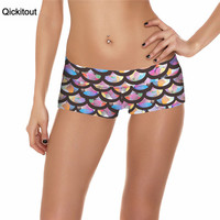 Qickitout Shorts 2016 Brand Fashion New Fitness Shorts Women Casual Color Scale Digtal Print Elasticity Waist shorts