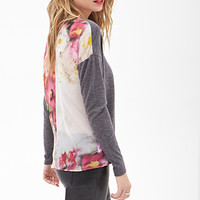 LOVE 21 Watercolor Paneled Sweater Charcoal/Multi