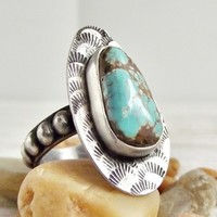 Navade Mine 9 Turquoise Ring, Rustic Western Style Ring, Beaded Band   WestWindCreations - Jewelry on ArtFire