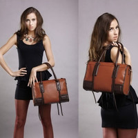 Women's genuine leather messenger shoulder bag tote handbag hobo purse (Color: Orange) = 1697507844