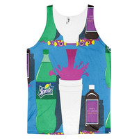 Dirty Sprite Sippin On Syrup Sizzurp Purple Drank Codeine Parmason Cheratussin Triin 24s Pancakes Lean Bo 5-9 Oil Purple Potion Dye Sublimation All Over Print 3D Full Print Cotton Polyester Unisex Novelty Green White & Blue Tank Top