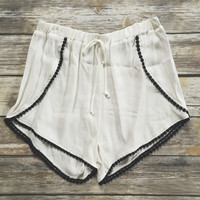 White Pom Pom Trim Short