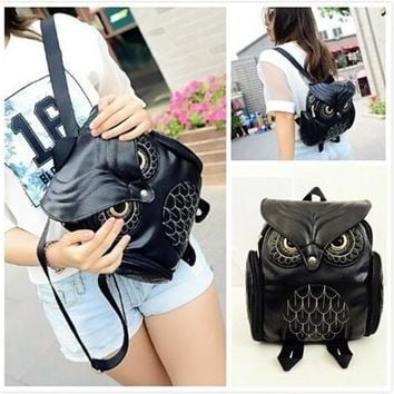 Fashion Embordery Owl High Quality PU Two Shoulders Backpack( Black/Golden/Pink/Purple) [8833526220]