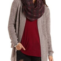 Open Pointelle Cardigan Sweater by Charlotte Russe - Taupe Combo