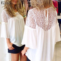 Summer Style Women Blusas Chiffon Patchwork Lace Solid Shirts Casual Loose White Blouses Tops