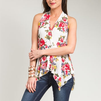 Sheer Overlap Floral Print Asymmetric Top in White & Red