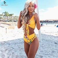 Floral High Waist Bikini - Womens Push-Up Padded Swimwear Swimsuit Bathing Suit