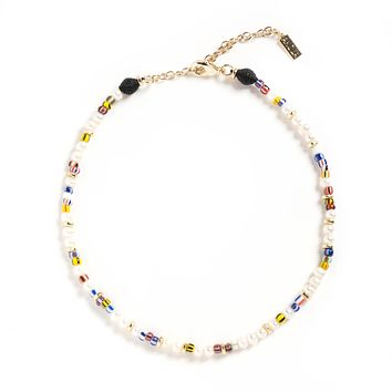 Zelmya Beaded Necklace with White Pearl, Woven Raffia & Rainbow Colored Recycled Glass Beads I Akola