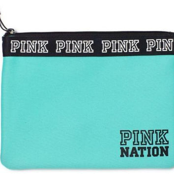 VS Pink Nation Bikini Bag Travel Pouch NWT Color green/ blue