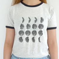 Moon Phases Shirt Tumblr Tshirt Grunge Clothing Planet Ringer Tee