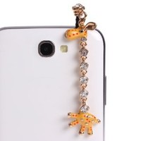 Wisedeal 3.5mm Bling Crystal Rhinestones Giraffe Pattern Cellphone Charms Anti-Dust Dustproof Earphone Audio Headphone Jack Plug Stopper for iPhone 4 4S Samsung Galaxy S2 S3 Note I9220 HTC Sony Nokia Motorola LG Lenovo (Yellow)