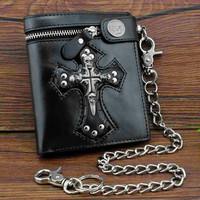Skull Cross Leather Wallet With Chain