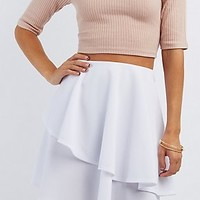 ASYMMETRICAL TIERED SKATER SKIRT