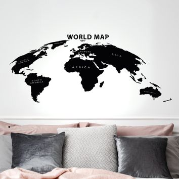 Vinyl Wall Decal Earth Atlas World Map Travel Adventure Geography School Stickers Mural 35 in x 17 in gz277