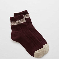 Aerie Textured Bootie Socks, Deep Plum