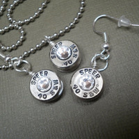 Speer .40 caliber necklace and dangle earring set, nickel (silver) with clear swarvoski crystals