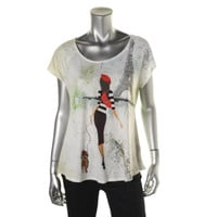 Style & Co. Womens Petites Knit Printed Pullover Top