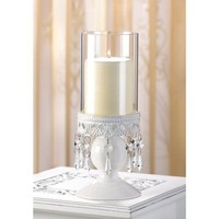 Victorian Ivory w/ Crystals Hurricane Candle Lantern
