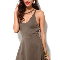 Brown Cross Strap Back Dress B005404
