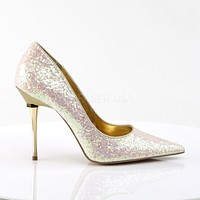 """Appeal 20G Rose Glitter Pointy Toe Pumps 4"""" High Heel Shoes"""