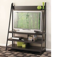 Ladder TV Stand Black Plasma Games Storage Wooden New Living room Free Shipping